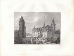 1851 - Le Château De Josselin Dans Le Morbihan - Gravure Sur Acier - FRANCO DE PORT - Estampes & Gravures