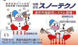 TELECARTE JAPON * BONHOMME DE NEIGE * TELEFONKARTE JAPAN * SCHNEEMANN (67)  PHONECARD * SNOWMAN * CHRISTMAS  WEIHNACHTEN - Kerstmis