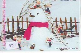 Carte Prépayée  Japon * BONHOMME DE NEIGE  KARTE JAPAN  SCHNEEMANN (83)  PREPAID CARD SNOWMAN CHRISTMAS  WEIHNACHTEN - Kerstmis