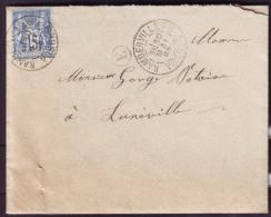 """Vosges - LAC -  Tàd T84 Rambervillers Sur N° 101 + BR """"E"""" (Fauconcourt, Identifiée Dans Le Texte) Pour Lunéville - Postmark Collection (Covers)"""