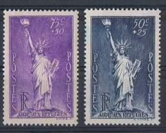 FR 88 - FRANCE N° 307 + 352 Neufs** Au Profit Des Réfugiés Politiques - Statue De La Liberté - Nuovi