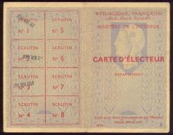 Roncq, Mairie -République Française - Carte D´électeur 1958. - Vieux Papiers