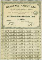 Cabotage Marseillais, Action De 500 Francs, Petit Tirage De Seulement 800, 1919 - Transports