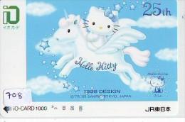 Carte Prépayée  Japon * HELLO KITTY * CAT * CHAT * Katze (708) PREPAID CARD JAPAN * KARTE * TRAIN * JR * IO - BD