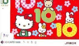Carte Prépayée  Japon * HELLO KITTY * CAT * CHAT * Katze (711) PREPAID CARD JAPAN * KARTE * TRAIN * JR * IO - BD