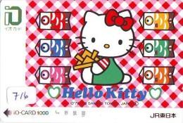 Carte Prépayée  Japon * HELLO KITTY * CAT * CHAT * Katze (716) PREPAID CARD JAPAN * KARTE * TRAIN * JR * IO - Fumetti
