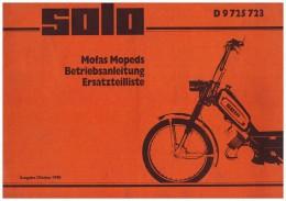 Betriebsanleitung , Handbuch - Solo Mofa 1990 , Moped , 44 Seiten !!! - Motorräder