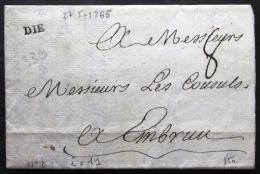 MARQUE LINEAIRE De DIE                27/5/1765               Indice  11 - Marcophilie (Lettres)