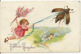 Fröhliche Pfingsten  Pentecôte Carte Allemande Fillette Et Hanneton Cachet Postal Berlin 6 Juin 1930 - Pentecôte