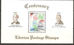 LIBERIA 1960 CENTENARIO DEL SELLOS BLOCK Mi 17 MNH** - Liberia