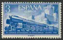 Spain Espana 1958 Mi 1134 YT 926 ** Class 242F Steam Locomotive And Castillo De La Mota / Schnellzug Mit Lokomotive 242F - Treni