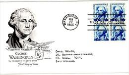 HC-L59 - ETATS-UNIS FDC 1966 George WASHINGTON 1er Président Des Etats-Unis Avec Bloc De 4 - George Washington