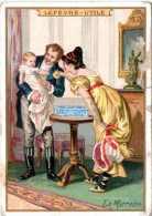 Chromo Lu : La Marraine. Couple Et Enfant. La Boîte De Petits Lu Sur La Table. - Lu