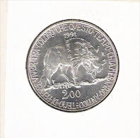 ITALIE 200 LIRE 1991 FLORA EN FAUNA AG BU - Commémoratives