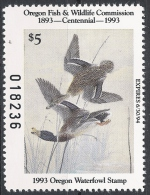 Duck Stamp Oregon Waterfowl Stamp 1993 ** MNH Vogel Birds - Duck Stamps
