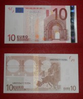 GERMANIA FRANCIA GERMANY FRANCE 10 EURO 2002 DRAGHI SERIE X 80334113204 E007F5 UNC FDS - 10 Euro