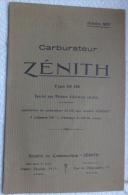 Notice Carburateurs Zenith 65 HE Moteurs D'aviation Rotatifs 1917 Avions Clerget - Avion