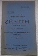 Notice Carburateurs Zenith 55DC & 65DC Moteurs D'aviation Hispano-Suisa 1917 Avions Salmson - Avion