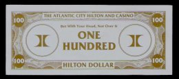 "Test Note ""HILTON"" Testnote,  100 Dollars, RRRRR, UNC, Sehr Alt!! Dollar Size - USA"