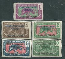 Oubangui N° 43 / 47  X Timbres De 1922 Surchargés : Les 5 Valeurs  Trace De Charnière Sinon TB - Ungebraucht