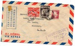 Peru 1950 Registered Cover Mailed To USA - Peru