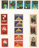 """Tchécoslovaquie 16 étiquettes """"Industrie"""" (3 Séries Différentes) - Štítky Matchbox - Matchbox Labels"""