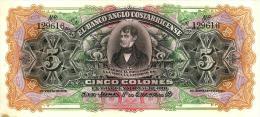 COSTA RICA 5 COLONES ORANGE-BLACK MAN FRONT MOTIF BACK ANGLO BANK DATED 01-01-19(17) AUNC P.S122R READ DESCRIPTION!! - Costa Rica