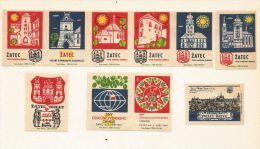 Tchécoslovaquie 10 étiquettes De Boites D'Allumettes - Zatec - Štítky Matchbox - Matchbox Labels
