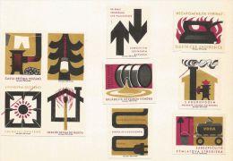 """Tchécoslovaquie 10 étiquettes """"sécurité Incendie"""" - Štítky Matchbox - Boites D'allumettes - Etiquettes"""