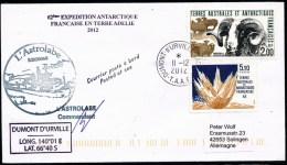 ANTARCTIC, TAAF, 11.12.2012, D.d´URVILLE, Cachet + Signatur Commandant !! - Antarktis-Expeditionen