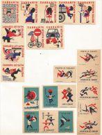 République Tchèque Ex-Tchécoslovaquie 22 étiquettes (Štítky Matchbox) - Sports Et Sécurité - Matchbox Labels