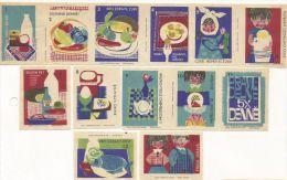 République Tchèque Ex-Tchécoslovaquie 13 étiquettes Alimentaires (Štítky Matchbox) - Matchbox Labels