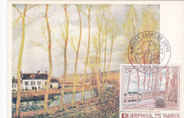 Carte-Maximum FRANCE N°Yvert 1812  (SISLEY - Le Canal Du Loing) Obl Sp Ill 1er Jour - Maximum Cards