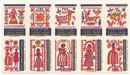 République Tchèque Ex-Tchécoslovaquie 10 étiquettes (Štítky Matchbox) Lidové Uméni Pokladnice Naroda - Matchbox Labels
