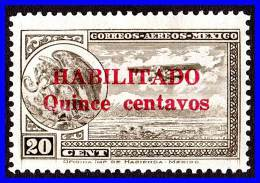 MEXICO 1931 BIRD AND PLANE WITH HABILITADO QUINCE CENTAVOS OVPT SC# C38 VFLH - Mexico
