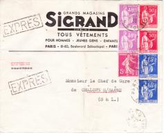 Paix N°281x2, 283x2 Et 365x2 + Semeuse 278B Sur Exprès Des Ets Sigrand à Paris, Pour Chalon-sur-Saône - 1932-39 Paix