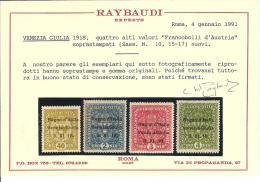 * 1918 - VENEZIA GIULIA - F.LLI D´AUSTRIA SOPRASTAMPATI N.1/17 CERT. RAYBAUDI CAT. 3000,00 - 8. WW I Occupation
