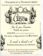 Mezidon : Château De Canon Visite Des Jardins Toussaint 2012 (type Flyer) - France