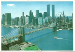 Nº036 NEW YORK CITY - THE BLOOKLYN BRIDGE CROSSING THE EAST RIVER WITH A VIEW OF THE TWIN TOWERS OF THE WORLD TRADE .... - Bridges & Tunnels