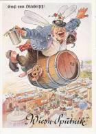 Gruß Vom Oktoberfest SST MÜNCHEN 23.9.1959 Humor Wiesn Sputnik Flieger Auf Bier Fass - Muenchen