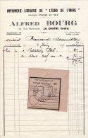 """Facture  - Imprimerie - Librairie De """"l´écho De L´Indre"""" - Alfred BOURG - LA CHATRE (Indre) - France"""