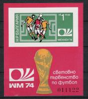 1974 Bulgarien Bl. 47B ** MNH Fußball Football Soccer Sport WM - Coppa Del Mondo