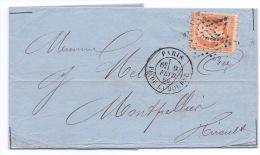 FRANCE - 23 SUR LETTRE PARIS POUR MONTPELLIER 1866 BEAU CACHET PLACE DE LA BOURSE - 1862 Napoleon III