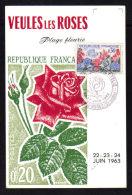 Juin 1963 / VEULES LES ROSES - SEINE MARITIME / Flore & Philatélie / Carte Illustration Concordante - Cachets Commémoratifs