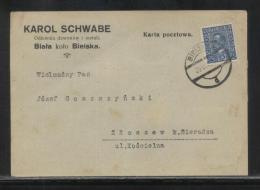 POLAND 1931 PRIVATE POST CARD KAROL SCHWABE BELL FOUNDRY BIALA NEAR BIELSKO DONATION CONFIRMATION USED REVENUE ON REVERS - 1919-1939 Republic