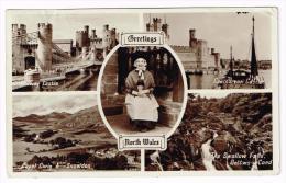I1134 Greetings North Wales - Conway Castle - Capel Curing - Snowdon  / Viaggiata 1954 - Autres