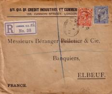 GRANDE BRETAGNE - PERFORATION  C.I.C. STE GLE DE CREDIT INDUSTRIEL ET COMMERCE - LETTRE RECOMMANDEE POUR LA FRANCE - CA - Covers & Documents