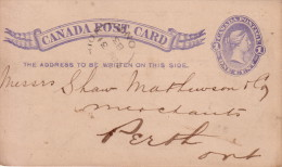 CANADA - ENTIER POSTAL AVEC REPIQUAGE PUBLICITAIRE - 1884-SPRING-1884 MEN' FURNISHINGS RADFORD BROTHERS MONTREAL. - 1860-1899 Regering Van Victoria