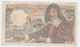 FRANCE 100 FRANCS 1942 VF P 101a 101 A - 1871-1952 Circulated During XXth