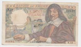 FRANCE 100 FRANCS 1942 VF P 101a 101 A - 100 F 1942-1944 ''Descartes''